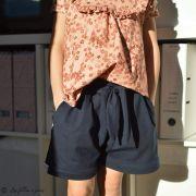"Tissu jersey coton motif fleurs ""Mini Flowers Peach"" - Marron - Oeko-Tex ® Family Fabrics ® - 6"