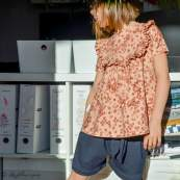"Tissu jersey coton motif fleurs ""Mini Flowers Peach"" - Marron - Oeko-Tex ® Family Fabrics ® - 8"