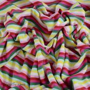 Tissu jersey motif rayure - Blanc, rose, rouge, vert et jaune Vintage In My Heart ® - 4