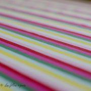 Tissu jersey motif rayure - Blanc, rose, rouge, vert et jaune Vintage In My Heart ® - 2