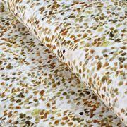 """Tissu french terry coton motif tâche """"Palette"""" - Blanc et tons marrons - Oeko-Tex ®"""