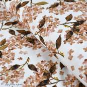 "Tissu french terry coton motif fleur ""Hortensia"" - Blanc et tons roses - Oeko-Tex ®"