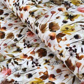 "Tissu jersey coton motif fleur ""Wild Flowers"" - Blanc et tons marrons - Oeko-Tex ® Family Fabrics ® - Tissus oekotex - 1"