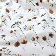 "Tissu jersey coton motif fleur ""Pressed Flowers"" - Blanc et tons marrons - Oeko-Tex ® Family Fabrics ® - 3"