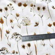 "Tissu jersey coton motif fleur ""Pressed Flowers"" - Blanc et tons marrons - Oeko-Tex ® Family Fabrics ® - 5"
