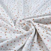 Tissu jersey digital coton motif pois - Ecru et tons rouge - Oekotex Autres marques - 2