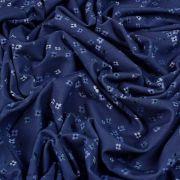 Tissu jersey digital coton motif fleur - Tons bleus - Oekotex Autres marques - 5