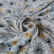 Tissu jersey digital coton motif fleur - Ecru chiné, ocre et pétrole - Oekotex Autres marques - 2