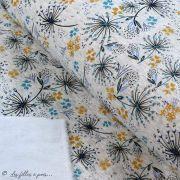Tissu jersey digital coton motif fleur - Ecru chiné, ocre et pétrole - Oekotex