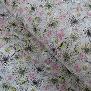 Tissu jersey digital coton motif fleur - Gris chiné, rose et blanc - Oekotex Autres marques - 2
