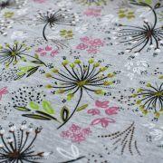 Tissu jersey digital coton motif fleur - Gris chiné, rose et blanc - Oekotex Autres marques - 3