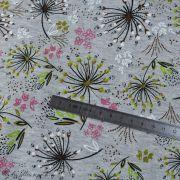 Tissu jersey digital coton motif fleur - Gris chiné, rose et blanc - Oekotex Autres marques - 7