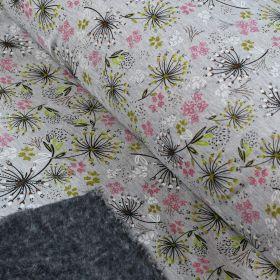 Tissu jersey digital coton motif fleur - Gris chiné, rose et blanc - Oekotex Autres marques - 1