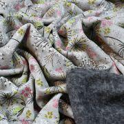 Tissu jersey digital coton motif fleur - Gris chiné, rose et blanc - Oekotex Autres marques - 6
