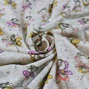 Tissu jersey sweat digital coton glitter motif fillettes - Ecru chiné, rose et ocre - Oekotex Autres marques - 2
