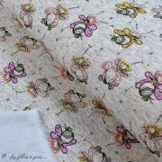 Tissu jersey sweat digital coton glitter motif fillettes - Ecru chiné, rose et ocre - Oekotex