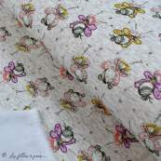 Tissu jersey sweat digital coton glitter motif fillettes - Ecru chiné, rose et ocre - Oekotex Autres marques - 1