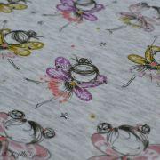 Tissu jersey sweat digital coton glitter motif fillettes - Ecru chiné, rose et ocre - Oekotex Autres marques - 3