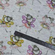 Tissu jersey sweat digital coton glitter motif fillettes - Ecru chiné, rose et ocre - Oekotex Autres marques - 5