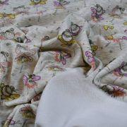 Tissu jersey sweat digital coton glitter motif fillettes - Ecru chiné, rose et ocre - Oekotex Autres marques - 4