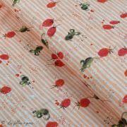 "Tissu jersey coton motif souris ""Erbeermäuse"" - Saumon, gris et rouge - Bio - Lillestoff ®"