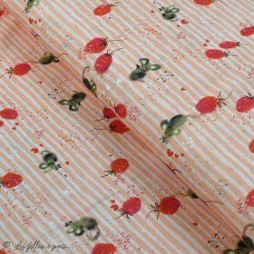 "Tissu jersey coton motif souris ""Erbeermäuse"" - Saumon, gris et rouge - Bio - Lillestoff ® Lillestoff ® - 1"