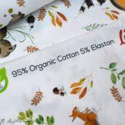 """Tissu jersey coton motif animaux """"Fridolin"""" - Blanc, orange, marron et vert - Bio - Lillestoff ® Lillestoff ® - Tissus Bio - 5"""