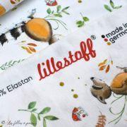 """Tissu jersey coton motif animaux """"Fridolin"""" - Blanc, orange, marron et vert - Bio - Lillestoff ® Lillestoff ® - Tissus Bio - 6"""