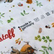 """Tissu jersey coton motif animaux """"Fridolin"""" - Blanc, orange, marron et vert - Bio - Lillestoff ® Lillestoff ® - Tissus Bio - 7"""