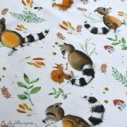 """Tissu jersey coton motif animaux """"Fridolin"""" - Blanc, orange, marron et vert - Bio - Lillestoff ® Lillestoff ® - Tissus Bio - 2"""