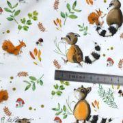 """Tissu jersey coton motif animaux """"Fridolin"""" - Blanc, orange, marron et vert - Bio - Lillestoff ® Lillestoff ® - Tissus Bio - 11"""