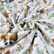 """Tissu jersey coton motif animaux """"Fridolin"""" - Blanc, orange, marron et vert - Bio - Lillestoff ® Lillestoff ® - Tissus Bio - 3"""