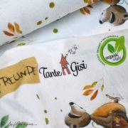 """Tissu jersey coton motif animaux """"Fridolin"""" - Blanc, orange, marron et vert - Bio - Lillestoff ® Lillestoff ® - Tissus Bio - 9"""