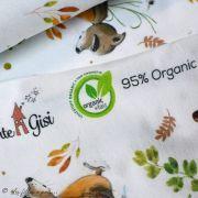"""Tissu jersey coton motif animaux """"Fridolin"""" - Blanc, orange, marron et vert - Bio - Lillestoff ® Lillestoff ® - Tissus Bio - 10"""