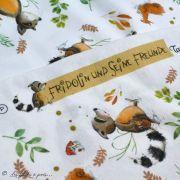 """Tissu jersey coton motif animaux """"Fridolin"""" - Blanc, orange, marron et vert - Bio - Lillestoff ® Lillestoff ® - Tissus Bio - 8"""