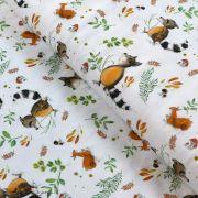 """Tissu jersey coton motif animaux """"Fridolin"""" - Blanc, orange, marron et vert - Bio - Lillestoff ®"""