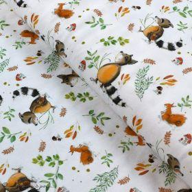 """Tissu jersey coton motif animaux """"Fridolin"""" - Blanc, orange, marron et vert - Bio - Lillestoff ® Lillestoff ® - 1"""
