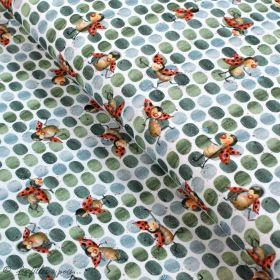 """Tissu jersey coton motif coccinelle """"Marinies"""" - Blanc, vert et rouge - Bio - Lillestoff ® Lillestoff ® - Tissus Bio - 1"""