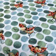 """Tissu jersey coton motif coccinelle """"Marinies"""" - Blanc, vert et rouge - Bio - Lillestoff ® Lillestoff ® - Tissus Bio - 2"""