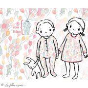 """Tissu jersey coton motif animaux volant """"Fliegende Tiere"""" - Blanc, rose et vert - Bio - Lillestoff ® Lillestoff ® - 10"""