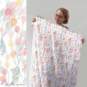"""Tissu jersey coton motif animaux volant """"Fliegende Tiere"""" - Blanc, rose et vert - Bio - Lillestoff ® Lillestoff ® - 11"""
