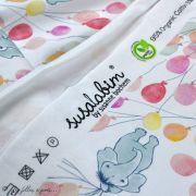 """Tissu jersey coton motif animaux volant """"Fliegende Tiere"""" - Blanc, rose et vert - Bio - Lillestoff ® Lillestoff ® - 5"""