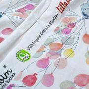 """Tissu jersey coton motif animaux volant """"Fliegende Tiere"""" - Blanc, rose et vert - Bio - Lillestoff ® Lillestoff ® - 6"""