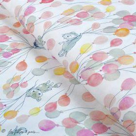 """Tissu jersey coton motif animaux volant """"Fliegende Tiere"""" - Blanc, rose et vert - Bio - Lillestoff ® Lillestoff ® - 1"""