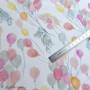 """Tissu jersey coton motif animaux volant """"Fliegende Tiere"""" - Blanc, rose et vert - Bio - Lillestoff ® Lillestoff ® - 9"""