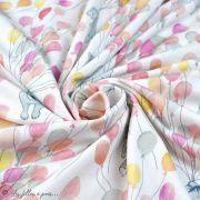 """Tissu jersey coton motif animaux volant """"Fliegende Tiere"""" - Blanc, rose et vert - Bio - Lillestoff ® Lillestoff ® - 3"""
