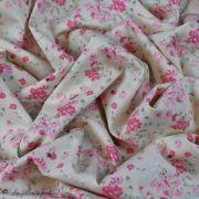 "Tissu coton motif fleurs ""Le Vintage Chic"" - Ecru et rose - Oekotex - AGF ® Art Gallery Fabrics ® - 3"