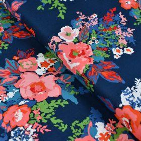 "Tissu coton motif fleurs ""Everlasting"" - Bleu marine et rouge - Oekotex - AGF ® Art Gallery Fabrics ® - Tissus - 1"