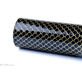 Coupon simili cuir - Ecailles de serpent - Noir et doré Autres marques - 1