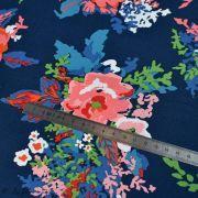 "Tissu coton motif fleurs ""Everlasting"" - Bleu marine et rouge - Oekotex - AGF ® Art Gallery Fabrics ® - 5"